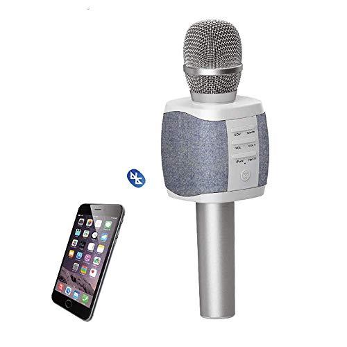 MUYIER Bluetooth-Karaoke-Mikrofon, 2000Mah Beweglicher Nachladbarer Drahtloser Karaoke-Mikrofon Mit 5W Doppel Lautsprecher-Unterstützungs-TF-Karte Bluetooth 4.2 Für KTV Hauptpartei,A
