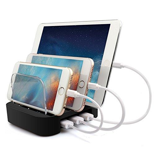 MixMart Stazione di Ricarica 3 Porte USB[17W/3.4A]a Max Velocità, Organizzatore di dispositivi, Caricabatterie Portatile Da Viaggio, Caricatore USB per Smartphone e Tablet