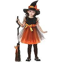 ZOEREA 2 pezzi Vestiti Halloween Bambina Costume Halloween Bambini Vestiti Carnevale Costumi Strega Vestito e cappello