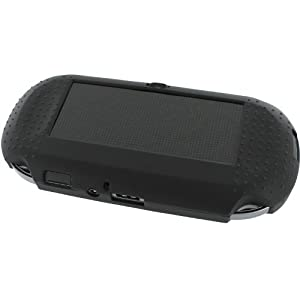 Assecure Pro Black & Lead Grey Silicone Gel Skin Protector Cover Protective Bumper Grip Case for Sony PS Vita (PSP PSV)