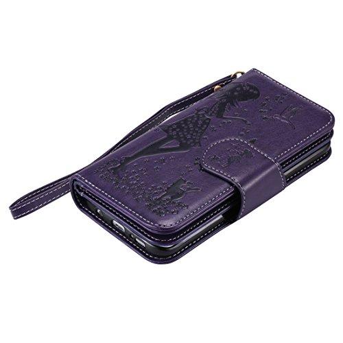 Chreey Coque Apple Iphone 7 Plus (5.5 pouces) ,PU Cuir Portefeuille Etui Housse Case Cover ,carte de crédit Fentes pour (9 fente) ,idéal pour protéger votre téléphone pourpre