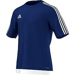 Camiseta de futbol vintage adidas Estro - Camiseta para hombre, color azul oscuro/blanco, talla L