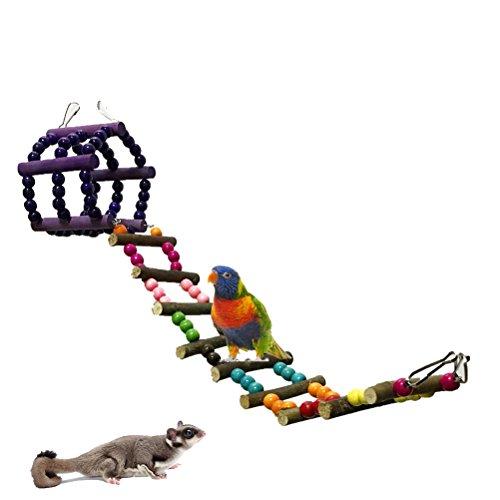 UEETEK Juguete del Pájaro Aves Escalera Columpio Jaula Juguete para Loros Guacamayos Periquito (Coloridos)