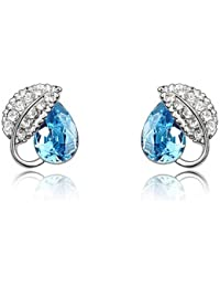 Silver Shoppee Spring of Love Rhodium Plated Crystal and Cubic Zirconia Studded Alloy Earrings for Girls and Women