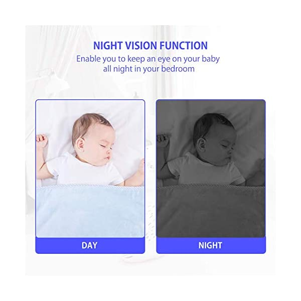 2.4GHz Digital Wireless Video Baby Monitor,HEKIWAY Baby Monitor with Two Way Talk Back, Infrared Night Vision, Room Temperature, Lullabies, ECO, Long Range and High Capacity Battery Monitor HEKIWAY ✔ICONS OVERVIEW:Signal,volume,zoom,alarm,brightness,night vision,lullaby,ECO,Talk to baby,Camera,Battery,temperature. ✔Infrared Night Vision:Enable you to keep an eye on your baby all night in your bedroom.You can play 4 soothing lullaby songs or use the two-way intercom feature to comfort your baby. ✔TWO-WAY TALKING&LONG TRANSMISSION RANGE:You can play 4 soothing lullaby songs or use the two-way intercom feature to comfort your baby.The monitor covers a transmission range of up to 300m. 6