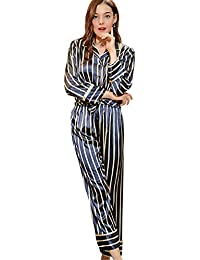 540c0e7ed65de Beiersi Seidenpyjama Damen Lang Schlafanzug Sleepwear Homewear Seide  Schlafanzug Damen Set Pyjamas Zweiteilige Weiche Warme