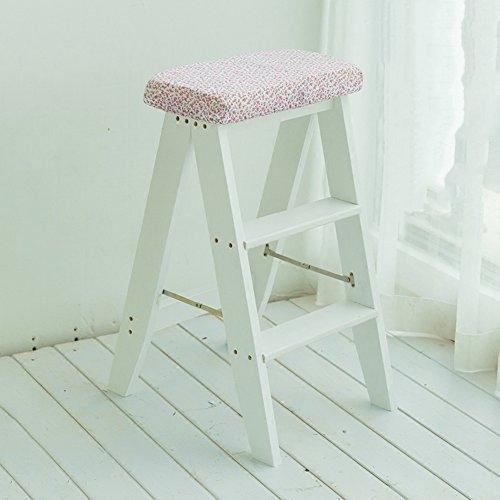 YANZHEN Mit Sitzkissen Klappleiterhocker Multifunktionaler tragbarer Treppenstuhl Massivholz, 3 Farben ( Farbe : Whitem )