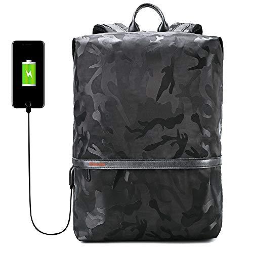 iCozzier Ultralight Laptop Rucksack, Camo Wasserdichte Reise Wandern Sport Schule Staubbeutel mit USB Lade-Port -