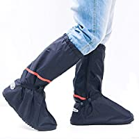Waterproof Overshoes, SayouŽ Reusable Zippered Women Men High Boots Waterproof Rainproof Snowproof Shoes Cover with Reflective Bands For Outdoor Activities (1 Pair, XL)