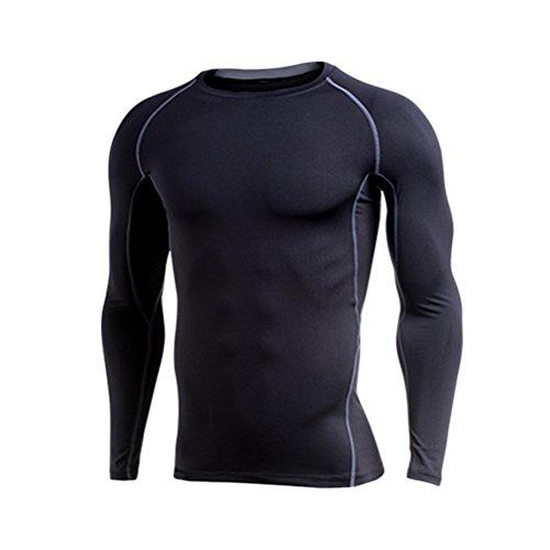 Zhhlaixing Herren Running Gym Fleece Lined Under Shirt Pro Kompressionsshirt Base Layer/Baselayer Long Sleeve Top - Base Layer Fleece Top