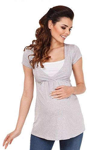 Zeta ville - maglia 2 in 1 per allattamento t-shirt top prémaman - donna - 373c (grigio melange, 46)