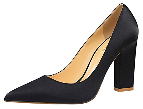 Aisun Satin Optik Hoch Blockabsatz Spitz Zehe Pumps Schwarz