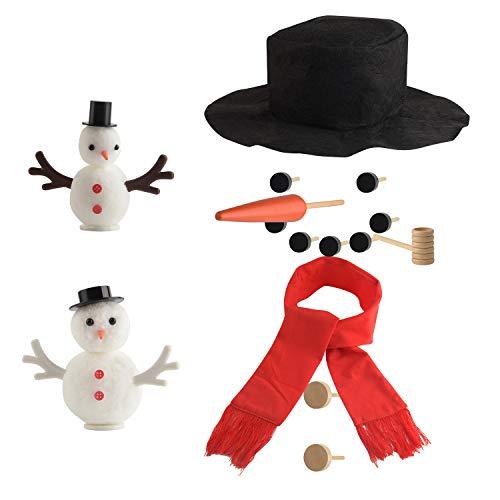 TUPARKA 36 Stücke Schneemann DIY Schneemann Dekorieren Kit, Schneemann Machen Kit Schneemann Dressing Kit DIY Mini Weihnachten Schneemann Kit für Weihnachten Urlaub Dekorationen