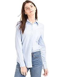 GAP Womens New Fitted Boyfriend Oxford Shirt (35577661900_Light Blue_XXS)