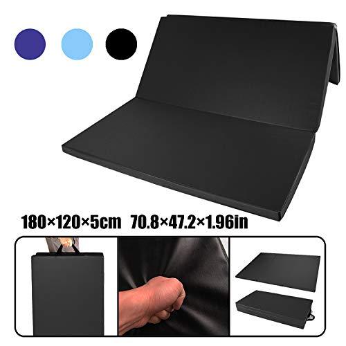 CCLIFE 180x120x5cm Turnmatte Weichbodenmatte Klappbar Gymnastikmatte Farbauswahl, Farbe:Schwarz