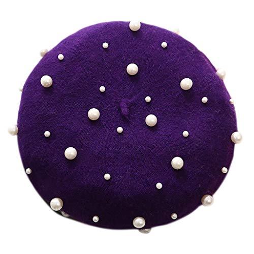 Ecmqs béret cappello–donne lusso elegante pashmina inverno full faux perla rivet abbellimenti cielo stellato elastico vintage berretto tam cappello tinta unita b