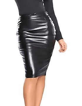 Faldas Midi Mujer Elegante Ropa Falda Cuero Tubo Polares Otoño Invierno Cintura Alta Slim Color Sólido