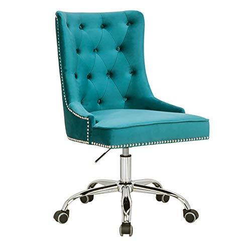 Riess Ambiente Design Bürostuhl Victorian Samt türkis mit Armlehne Stuhl höhenverstellbar mit Leichtlaufrollen