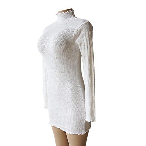 Longwu Manicotto lungo sexy delle donne scollo a V Stretch vestito dalla fasciatura del partito Milk White