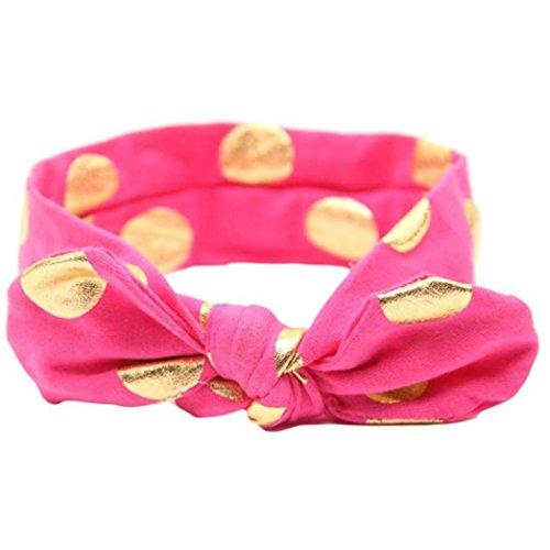 erthome Stirnband, Baby Mädchen Bowknot Haarband Set 3Pcs Kinder elastisches Blumen Stirnband Haarband (Bronzierender Bogen Pink) -