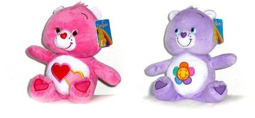 2-peluches-bisounours-30-cm-1-rose-1-violet