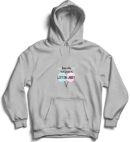 Keep Calm and Focus On Cotton Candy_004802 Cute Funny Hoody Sweater Sweatshirt Pullover Present - 2XL Grey Hoodie