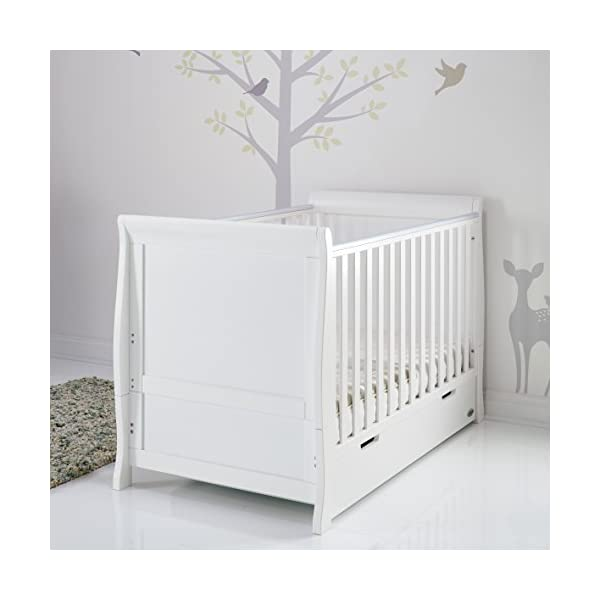 Obaby Stamford Sleigh Classic Cot Bed - White Obaby Adjustable 3 position mattress height Bed ends split to transforms into toddler bed Includes matching under drawer for storage 3