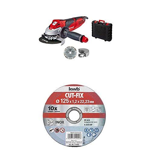 Einhell Winkelschleifer TE-AG 125/750 Kit + kwb 10 x Trennscheiben Sparpack für Metall und Edelstahl 711922 ( Bohrung 22.23, 125 x 1,0 mm) u.a. für Einhell TC-AG 125