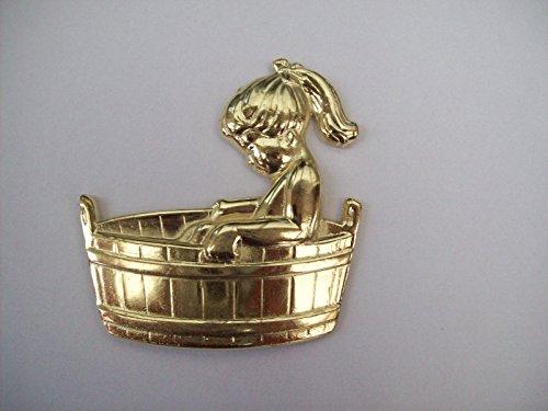 Ironmongery World® Metall Girl in Badewanne Badezimmer Toiletten Tür Schilder Old English Viktorianischer Stil