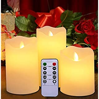 Harcas Flameless Led Set of 3 Battery Operated Electric Candles with Remote Control. Wax with Realistic Flickering Flame Effect. Create The Perfect Ambience Around Your Home. White