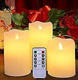 Flammenlose LED-Kerzen von Harcas. Set mit 3 Batterie-Betriebenen Elektrische Kerzen mit Fernbedienung. Echtes Wachs mit Realistischem Flackern. Elfenbein