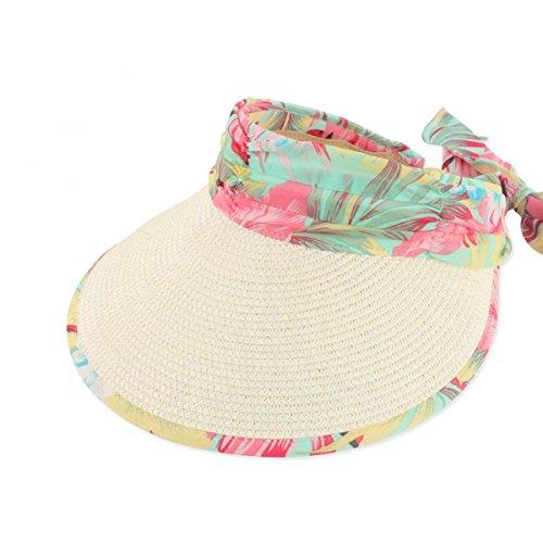 Chapeau de paille à larges bords Casquette Visière Femme Beige