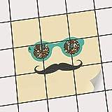 creatisto Fliesen-Sticker Aufkleber Folie selbstklebend | Fliesenspiegel Dekorationssticker Bad renovieren Küche Bad Ideen | 15x15 cm Design Motiv Hipster Hipster - 9 Stück