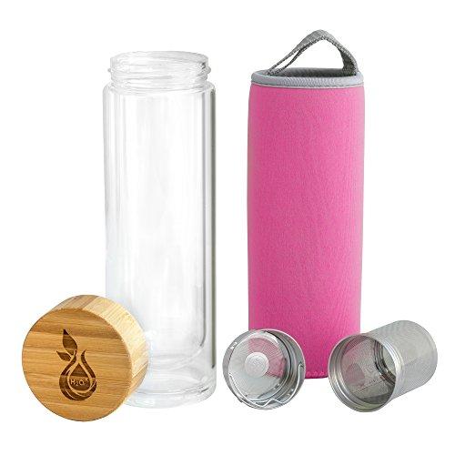 Glas-teekanne Mit Kleine Infuser (Teebereiter Set 400 ml H2O-X   Tea to go doppelwandige Glasflasche mit Teesieb Thermobecher inkl. Isolierhülle   Trinkflasche Thermoflasche Tea Maker Trinkbecher Isolierglas Infused Water (pink))