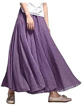 La Mujer Elegante Falda De Algodón Y Lino De Gran Tamaño Maxi Swing