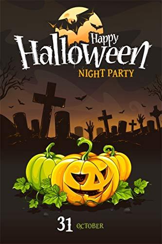 YongFoto 1,5x2,2m Vinyl Foto Hintergrund Halloween Nacht Party Kürbis Friedhof Grab Grabstein Fotografie Hintergrund für Fotoshooting Fotostudio Requisiten
