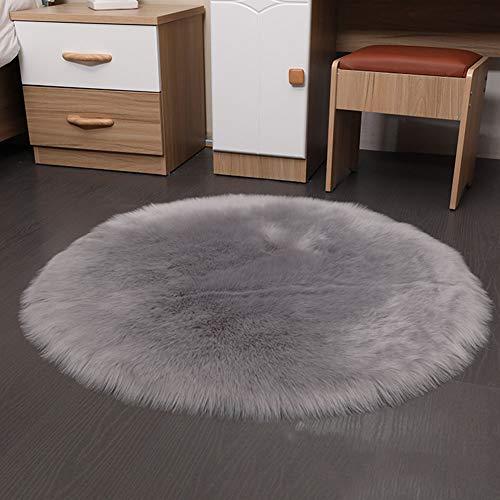 Excellent1123colori multiuso cuscino sella–morbido in finta pelliccia, elegante, di lusso, rotondo, sedia copertura per sedile, decorazioni per la casa, pavimento tappeti, gray, 60 x 60 cm
