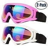 Maschera da Sci, 2 Confezioni di Occhiali da Sci per Uomo, Donna e Bambino, con UV400 Protezione,Antivento,Antiriflesso Lenti e Antipolvere