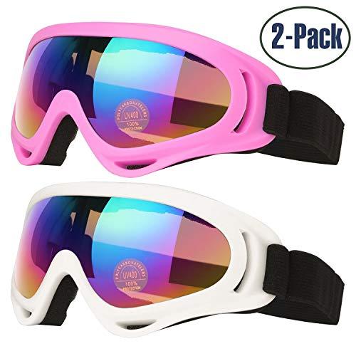 Gafas Esquí, 2-Pack Gafas Esquiar Mujer