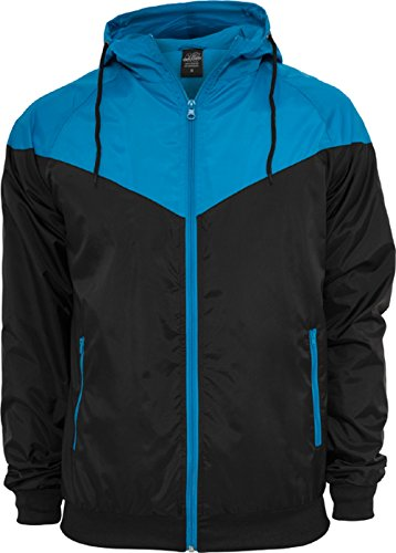 Urban Classics - Bekleidung Arrow Windrunner, Giacca Uomo, Multicolore (Black/Türkis), X-Large (Taglia Produttore: X-Large)
