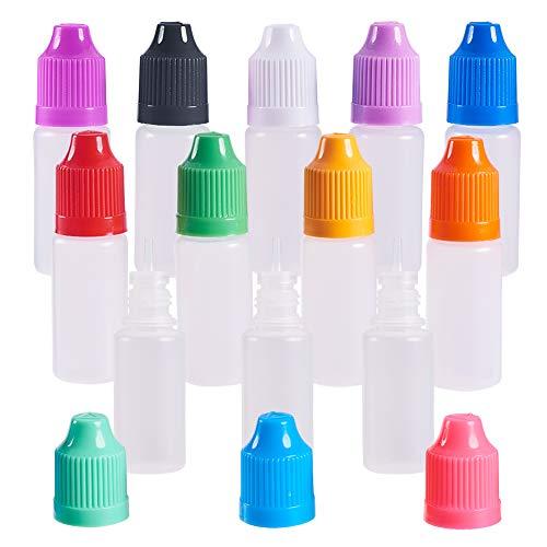 BENECREAT 60PCS 10ml 12 Farben Kappe Quetschbare Tropfflaschen Lang Dünner Kunststoff Leerer Flüssigkeitstropfen mit Kindersicherung Schraubverschluss zum Aufbewahren von Flüssigkeiten - 60 Ct Flasche