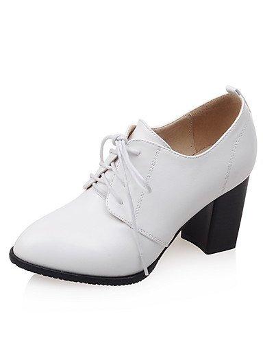 WSS 2016 Chaussures Femme-Habillé-Noir / Rouge / Blanc-Gros Talon-Talons / Bout Pointu-Talons-Similicuir red-us6.5-7 / eu37 / uk4.5-5 / cn37