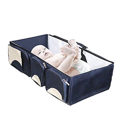 Windel Bag Travel Stubenwagen Change Station [3 in 1] Mehrzweck-Baby Windel Tote Bett Windel Kleinkind Babytrage Kinderbett Portable Kindergarten tragbar Bett für Baby Boy & Girl (Blau)