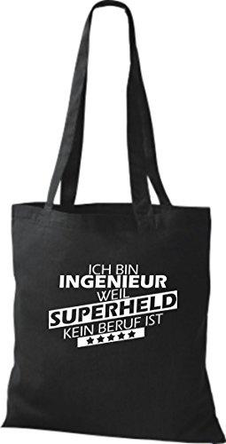 Shirtstown Stoffbeutel Ich bin Ingenieur, weil Superheld kein Beruf ist schwarz