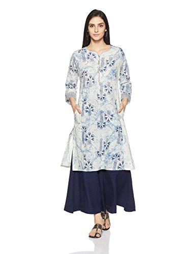 BIBA Women's Straight Kurta (MNMVINTAGE 13615_off white/blue_36)
