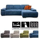 CAVADORE Schlafsofa Mistrel mit Longchair XL rechts / Große Eck-Couch im modernen Design / Mit Bettfunktion / Inkl. verstellbare Kopfteile / Wellenunterfederung /  273 x 77 x 173 / Blau