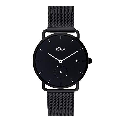 s.Oliver Damen Analog Quarz Uhr mit massives Edelstahl Armband SO-3713-MQ