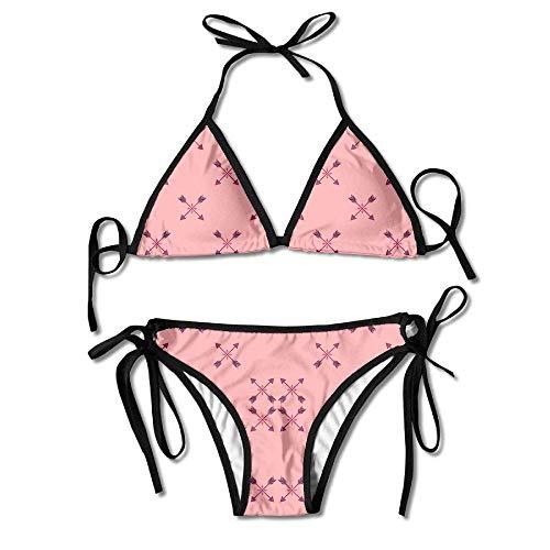 Osmykqe Womens Sexy Bikini Sets Bathing Swimsuits Tie Back Arrows On Pink Flamingo Wallpaper Flower Print -