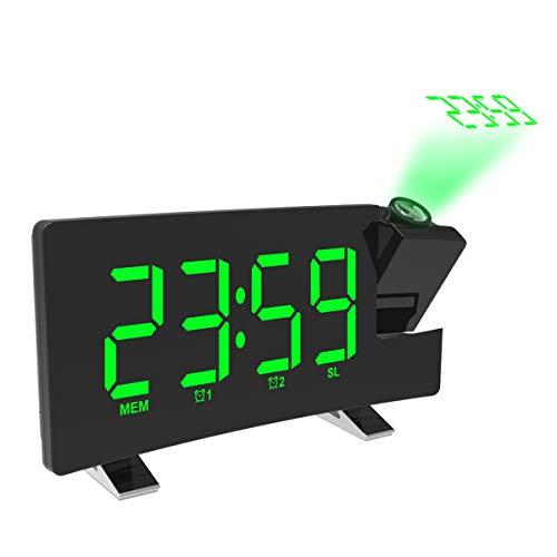 OurLeeme Projektionswecker FM-Radio Dual-Wecker Curved-Screen Dimmbare Helligkeit Radiowecker mit USB-Ladeanschluss (Grün)