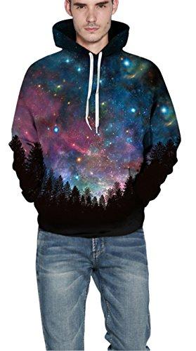 Nawoshow Unisex 3D Druck Kapuzenpullover Hoodie Sweatshirt Langarm Top Shirt Herbst Spaß Pullover für Männer und Frauen Sky Red